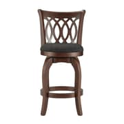 "HomeBelle Cherry Finish Dark Grey Linen 24""H Swivel Counter Height Chair (Motif Design) (78113324DGL)"