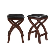 HomeBelle X-Base Brown Finish Vinyl Cushioned Stool Set of 2 (78311C473P2PC)