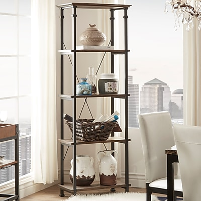 HomeBelle Brown Finish Metal Supports Bookcase (783228BR12)