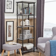 HomeBelle Grey Finish Metal Supports Bookcase (783228GA12)