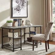 HomeBelle Grey Finish Metal & Poplar Writing Desk (783228GA15C)