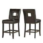 HomeBelle Black Finish Black Bi-Cast Vinyl Keyhole Counter Height Chair Set of 2 (78327024S1BK2PC)