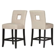 HomeBelle Black Finish Beige Linen Keyhole Counter Height Chair Set of 2 (78327024S1BL2PC)