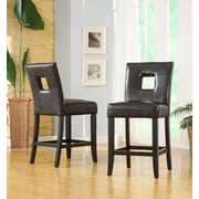 HomeBelle Black Finish Brown Vinyl Keyhole Counter Height Chair Set of 2 (78327024S1BR2PC)