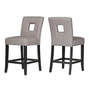 HomeBelle Black Finish Grey Linen Keyhole Counter Height Chair Set of 2 (78327024S1GL2PC)