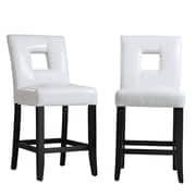 HomeBelle Black Finish White Bi-Cast Vinyl Keyhole Counter Height Chair Set of 2 (78327024S1W2PC)