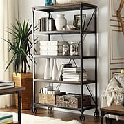 """HomeBelle 40""""W Bookcase With Handscraped Weathered Top (78509912L3A)"""