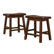 "HomeBelle Warm Cherry Finish 18""H Saddleback Stool Set of 2 (785302C182PC)"
