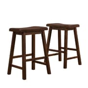 "HomeBelle Warm Cherry Finish 24""H Saddleback Stool Set of 2 (785302C242PC)"
