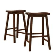"HomeBelle Warm Cherry Finish 29""H Saddleback Stool Set of 2 (785302C292PC)"