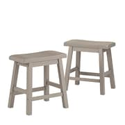 "HomeBelle Frost Grey Finish 18""H Saddleback Stool Set of 2 (785302GA183A2PC)"