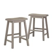 "HomeBelle Frost Grey Finish 24""H Saddleback Stool Set of 2 (785302GA243A2PC)"