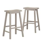 "HomeBelle Frost Grey Finish 29""H Saddleback Stool Set of 2 (785302GA293A2PC)"