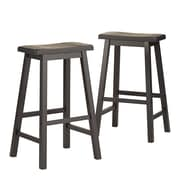 "HomeBelle Vulcan Black Finish 29""H Saddleback Stool Set of 2 (785302V293A2PC)"