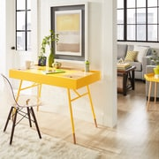 HomeBelle Two Tone Nature & Banana Yellow Finish Flip Up Drawer Desk (7863315Y3A)
