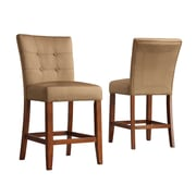 "HomeBelle Peat Microfiber 24""H Tufted Button Back Counter Height Chair Set of 2 (78714BN242PC)"