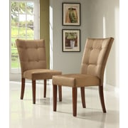 HomeBelle Peat Microfiber Tufted Button Back Side Chair Set of 2 (78714BNS2PC)