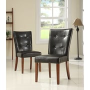HomeBelle Dark Brown Pu Tufted Button Back Side Chair Set of 2 (78714S2PC)