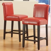 "HomeBelle Warm Red Vinyl 24""H Counter Height Chair Set of 2 (78859C470W3A2PC)"