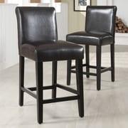 "HomeBelle Dark Brown Vinyl 24""H Counter Height Chair Set of 2 (78859C472W3A2PC)"