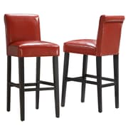 "HomeBelle Warm Red Vinyl 29""H Bar Height Chair Set of 2 (78859C480W3A2PC)"