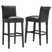 "HomeBelle Dark Brown Vinyl 29""H Bar Height Chair Set of 2 (78859C482W3A2PC)"