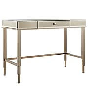 HomeBelle Champagne Gold Finish Mirrored Desk With Drawer (78E42315BS3A)