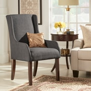 HomeBelle Dark Grey Linen Sloping Track Arm Accent Chair (78E546CDGL3A)