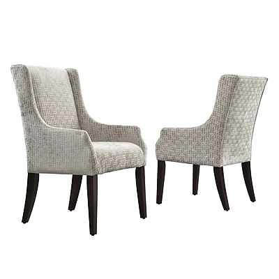 HomeBelle Grey Bracket Chain Print Fabric Accent Chair With Sloping Track Arm (78E546CF373A)