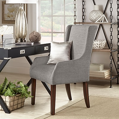 HomeBelle Grey Linen Sloping Track Arm Accent Chair (78E546CGL3A)