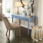 HomeBelle Heritage Blue Finish Writing Desk With Helix Legs (78E577ABU3A)