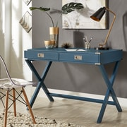 HomeBelle Bluesteel Finish X-Base Box Desk (78E581ABST)