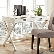 HomeBelle White Finish X-Base Box Desk (78E581AWH3A)