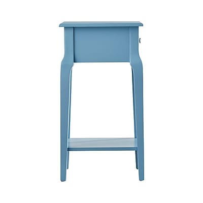 HomeBelle Heritage Blue Finish Accent Table With Shelf (78E711ABU3A)