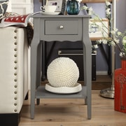 HomeBelle Frost Grey Finish Accent Table With Shelf (78E711AGA3A)
