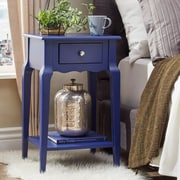 HomeBelle Twilight Blue Finish Accent Table With Shelf (78E711ATB3A)