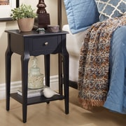 HomeBelle Vulcan Black Finish Accent Table With Shelf (78E711AV3A)