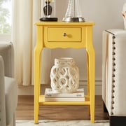 HomeBelle Banana Yellow Finish Accent Table With Shelf (78E711AY3A)