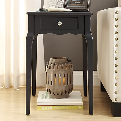 HomeBelle Vulcan Black Finish Side Table (78E712AV3A)