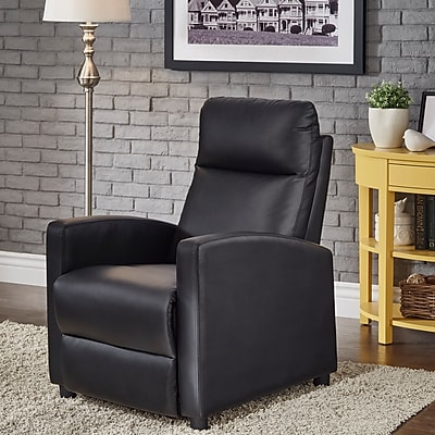 HomeBelle Black Bonded Leather Reclining Chair (78E785BKBD13A)