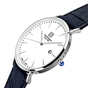 Steinhausen Men's Classic Burgdorf Swiss Quartz Stainless Steel Watch With Leather Band (S0518)