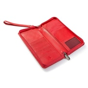 Visconti 1157 Large Leather Travel Wallet RFID Protection, Planner for Credit Cards Ticket (1157RED)