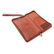 Visconti 1157 Large Leather Travel Wallet RFID Protection, Planner for Credit Cards Ticket (1157BROWN)