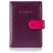Visconti Multicolored Plum Leather Passport Wallet (RB75 PLUM)