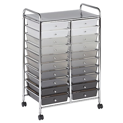 ECR4Kids Mobile Organizer Steel/Plastic 20-Drawer Grayscale (ELR-011-GY) 24197645
