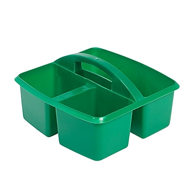 ECR4Kids 3 Compartment Small Art Caddy, Green/12 Pack (ELR-0176-GN)