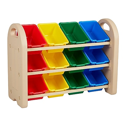 ECR4Kids 3-Tier Storage Organizer, Sand, Assorted Bins (ELR-0217-AS)
