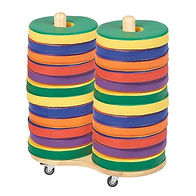 ECR4Kids Softzone® Colorful Donut Cushions, 4 Sets with Large Cart (ELR-12699)