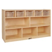ECR4Kids Birch 5+5 Storage and Tray Cabinet, Clear (ELR-17255F-CL)