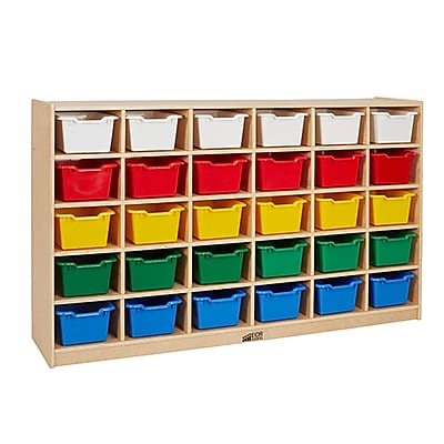 ECR4Kids Birch 30 Cubby Tray Cabinet, Assorted (ELR-17257F-AS)
